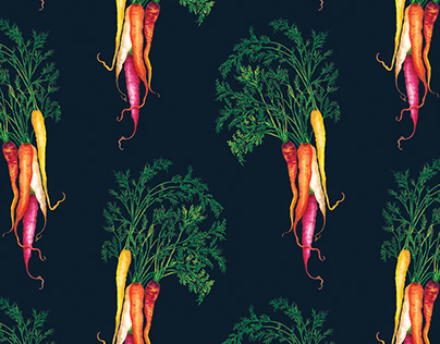 Watercolour food pattern - Heritage Carrots