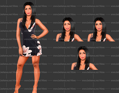 Hispanic Athletic Woman in Sundress (Set of Emotions)