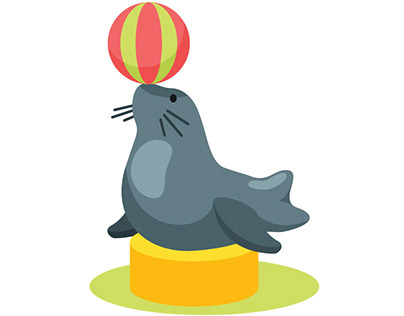 Seal playing with a ball vector art