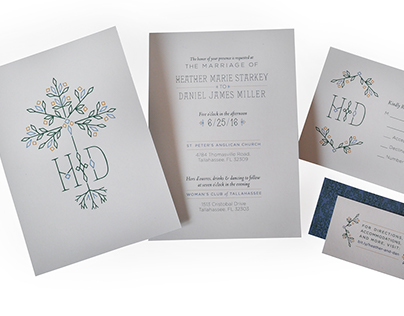 Heather & Daniel Custom Wedding Invitations