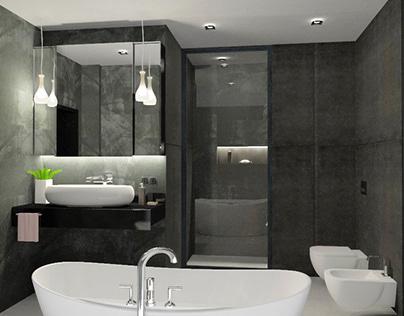 Ванная в оттенках черного