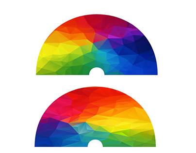GEOMETRIC SHAPE RAINBOW DESIGN COMPLETED PROJECT