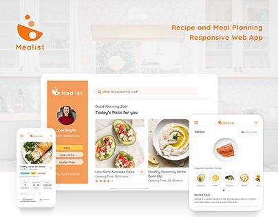 Mealist - Recipe Meal Planning App | UX UI Brand Design