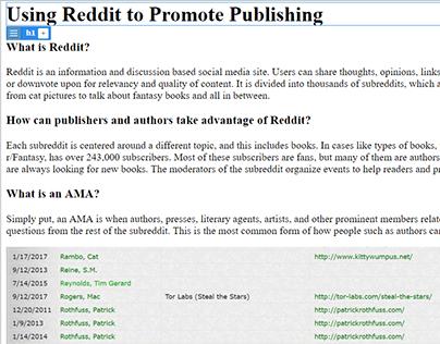 Using Reddit to Promote Publishing