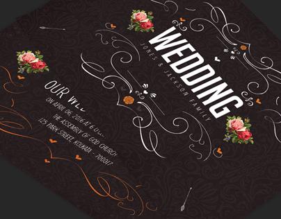 Vintage Floral Swirl Wedding Invitation Card