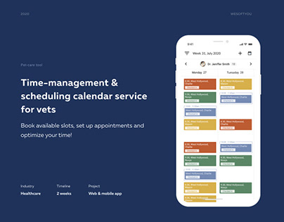 Time management & scheduling calendar service for vets