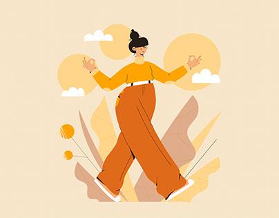 Mindful walking - Set of Vector illustrations
