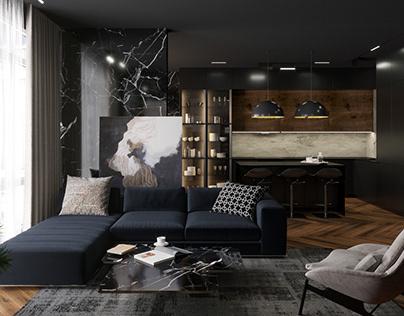 Black interior in Novopecherskie Lipki