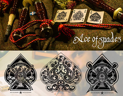 Playing Cards Design. Set of Ace of spades. Scotland st