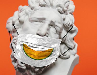 Smiling fruit. Illustrations for protective masks