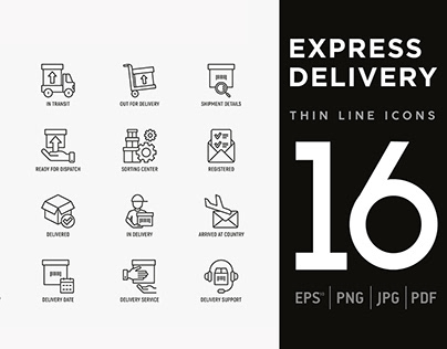 Express Delivery | 16 Thin Line Icons Set