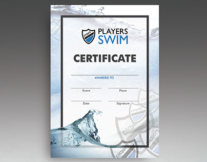 Graphic Design, Certificates - Players Swim