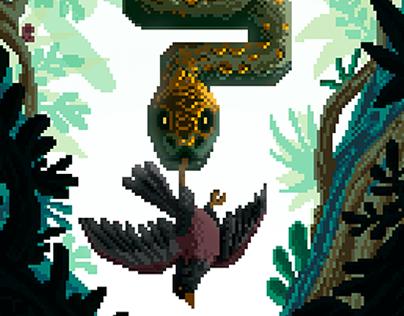The golden viper - Pixel art