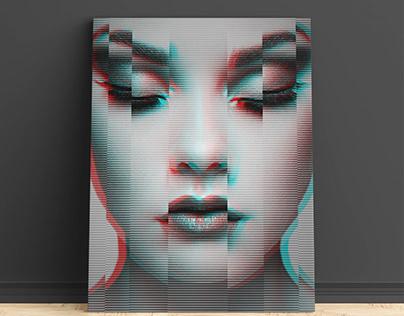 Glitch woman on canvas