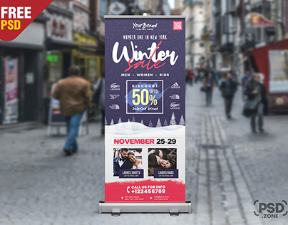 Winter Sale Roll Up Banner PSD