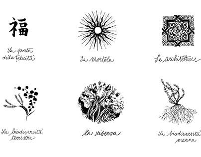 Giardini Botanici Hanbury | Illustrated visual identity