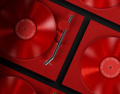 Vinyl Record Player Mockup
