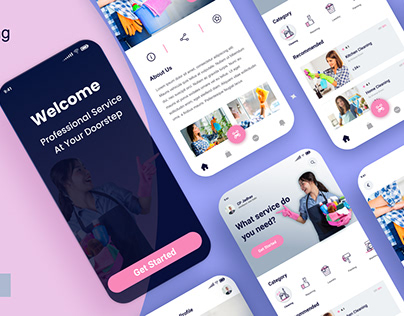 Home cleaning service mobile app UI