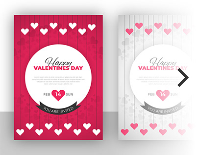 Valentines day flyer and party invitation card template