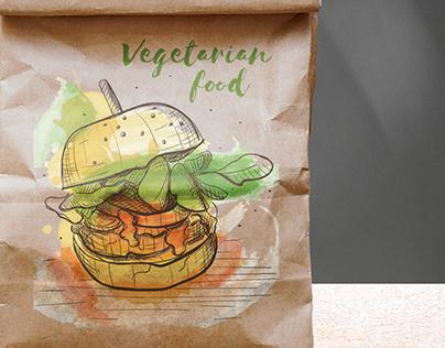 Set of vegetarian food