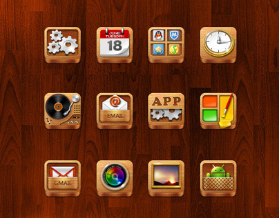 The QQ phone desktop theme design - Wood