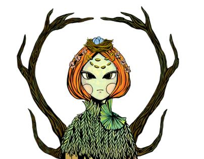 Illustrated Plush - The Woodland Goddess