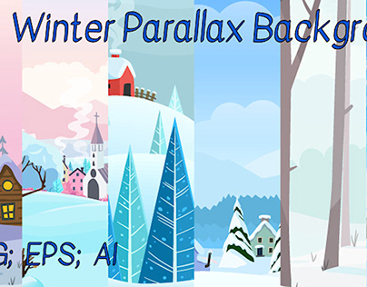 2d vector Winter parallax Backgrounds