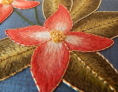Silk Shading and Goldwork - Peach