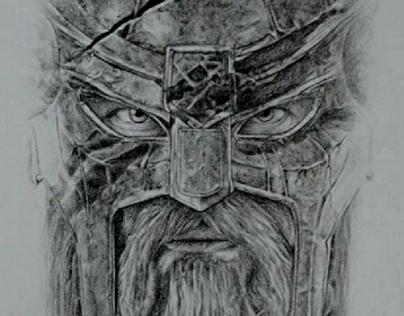 Viking Colored Pencil Drawing