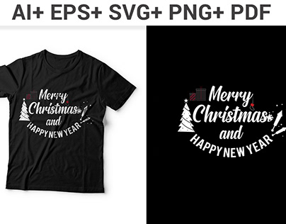 Christmas And New Year Typography T Shirt Design