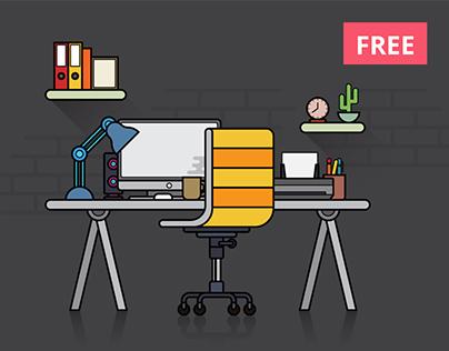 Free Flat Design Workspace Vector Illustration