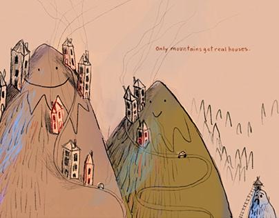 Illustration - story idea, the little mountain