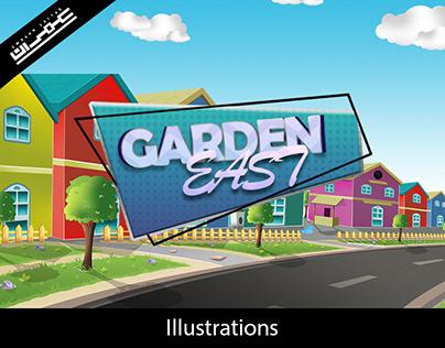 Garden East Cartoon Illustration