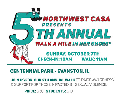 "Logo & Flyer for CASA's 5th Annual ""Walk In Her Shoes"""