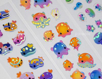 Sea slug and octopus sticker