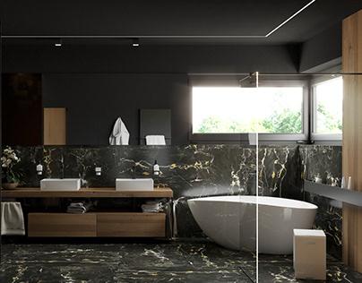 Black bathroom with wood #marble #teakwood #mirage