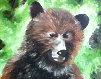 Grizzly Bear, Oil Paint