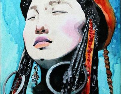 """Girl portrait"" painting"