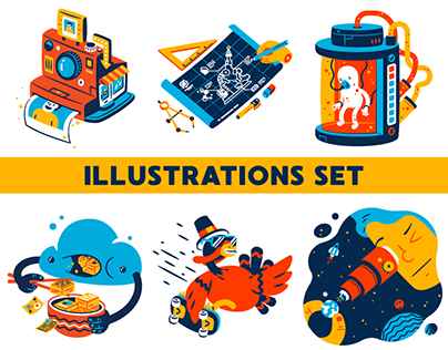 Illustrations set for Icons8
