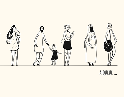 A queue | women queue illustration
