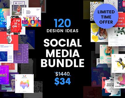 120 in 1 Social Media Design Templates Bundle