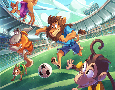 "Artworks for the board game ""zoo goal"""