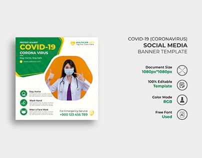 Covid-19 Social Media Banner Template Design