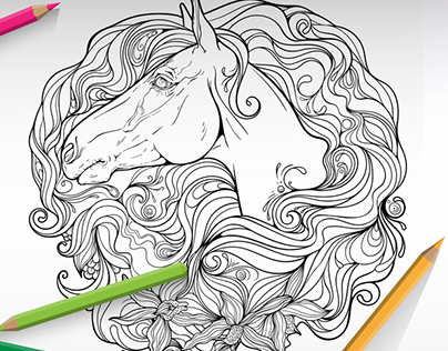 The Magic World of Horses. Coloring book.