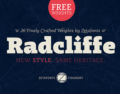 Radcliffe typeface system: 26 weights of which TWO FREE