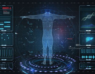 Modern medical science examination HUD, UI. Hi-Tech
