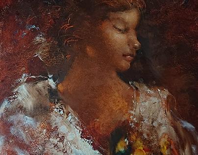 Портрет ''Девушка в белом с цветами на руках''