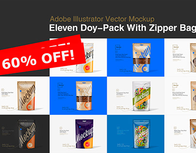 Eleven Doy-Pack With Zipper Bag Mockup