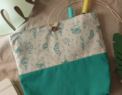DinoFood - pattern and handmade pouches