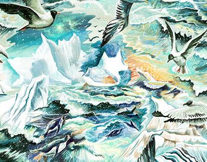 "Pattern ""Icebergs and gulls"" for Dasha denke clothing"
